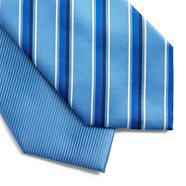 Pack of two light blue stripe and plain ties