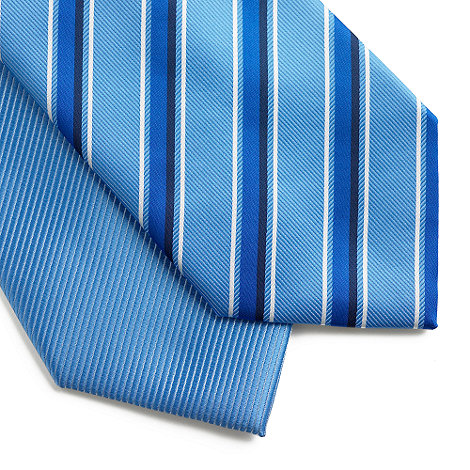 Thomas Nash - Pack of two light blue stripe and plain ties