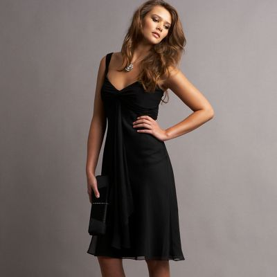 Black silk and jersey evening dress