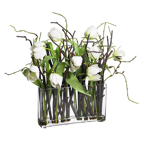 Debenhams - White tulip flowers with twigs in glass vase