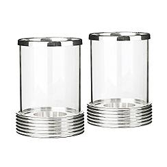 J by Jasper Conran - Silver plate set of two hurricane lamps