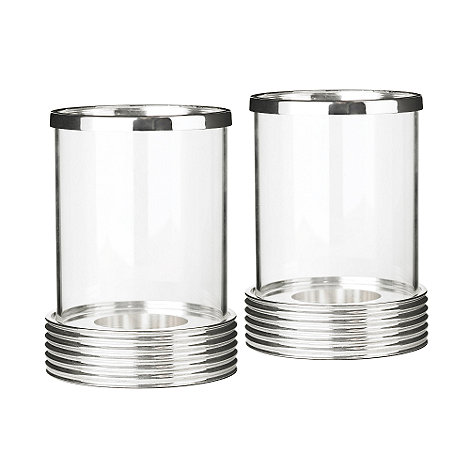 J by Jasper Conran - Silver plate set of two hurricane lamps