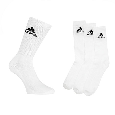 adidas - Pack of three white crew socks