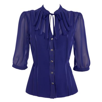 Collection Dark blue loop front blouse