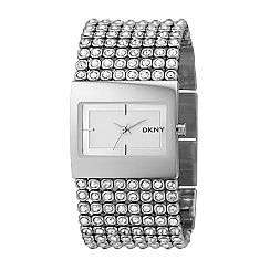 DKNY - Ladies rectangular dial watch with gem bangle strap