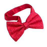 Red fleur patterned ready tied bow tie