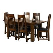 Rich Dark Acacia 'Elba' large extending dining table with six slatted chairs