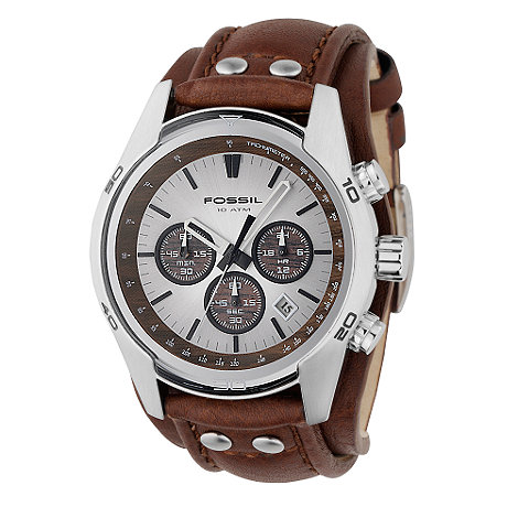 Fossil - Men+s brown chronograph dial watch