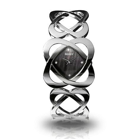 Seksy - Ladies black dial with heart loop bracelet
