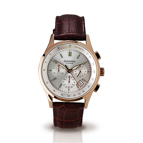 Sekonda - Men+s brown leather strap chronogrpah watch