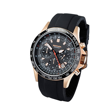 Sekonda - Men+s black multi dial with black strap watch
