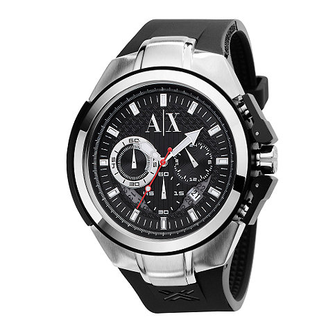 Armani Exchange - Men+s black round chronograph watch