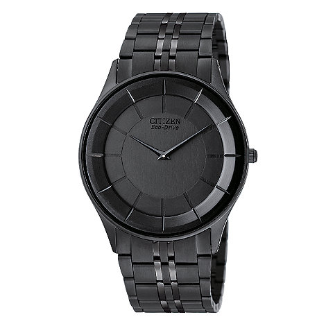 Citizen - Men+s black round dial watch