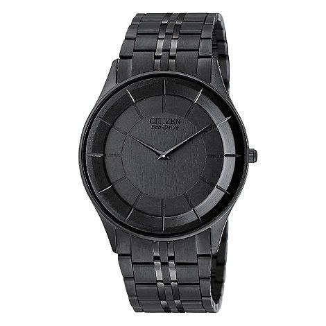 Citizen - Men+s black round dial watch