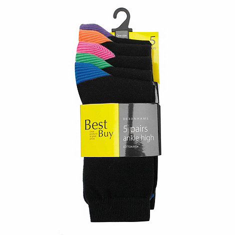 Debenhams - Pack of five heel & toe striped socks