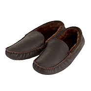 Chocolate leather moccasin slippers