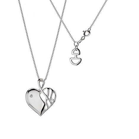 Hot Diamonds - Silver +arabesque+ heart pendant necklace