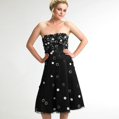 Black and ivory spot applique prom dress