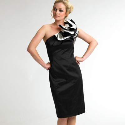 Black and ivory one shoulder ruffle dress