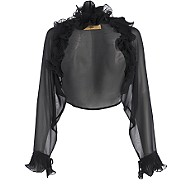 Black ruffle sleeve bolero - Cover ups - Tops - Women -