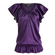 Purple satin frill sleeve top