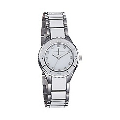 J by Jasper Conran - Ladies white round enamel dial bracelet watch