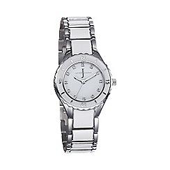 J by Jasper Conran - Ladies white round enamel dial bracelet watch
