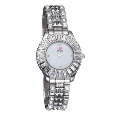 EB by Erickson Beamon Women's silver round baguette dial watch