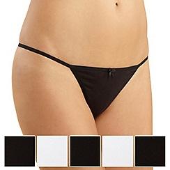 Debenhams - Pack of five cotton black & white thongs