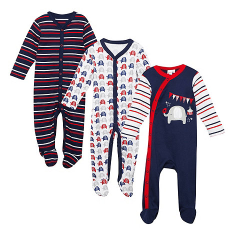 bluezoo - Babies pack of three elephant patterned sleepsuits