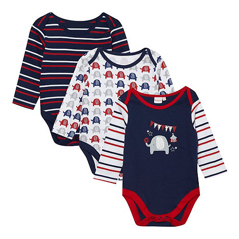 bluezoo - Babies pack of three navy elephant printed bodysuits