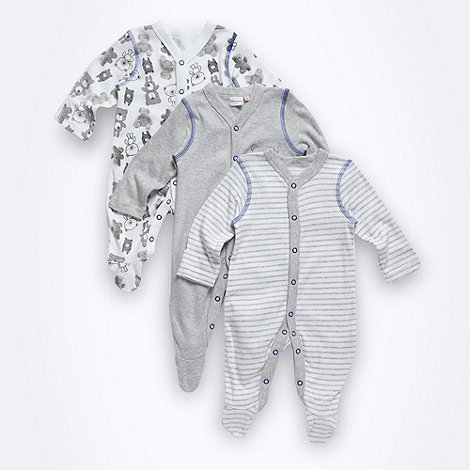 bluezoo - Babies pack of three grey striped and teddy printed babygrows