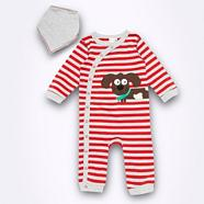 Babies red striped dog sleepsuit and bib set