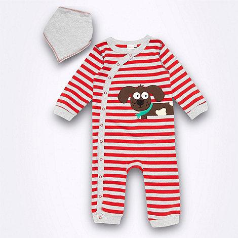 bluezoo - Babies red striped dog sleepsuit and bib set