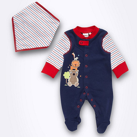 bluezoo - Babies navy animal sleepsuit and dribble bib