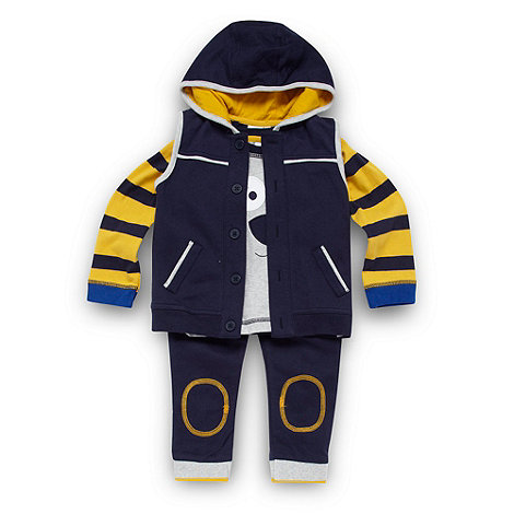 bluezoo - Babies navy gilet, t-shirt and joggers