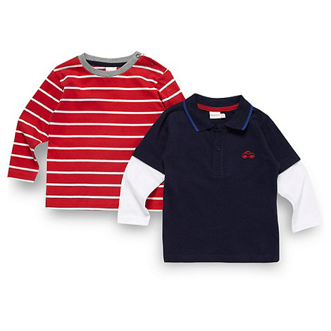 bluezoo - Babies red striped top and navy polo shirt set