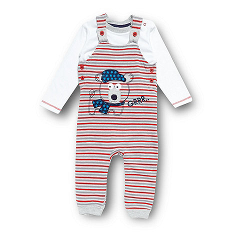 bluezoo - Babies grey embroidered bear dungarees and top set