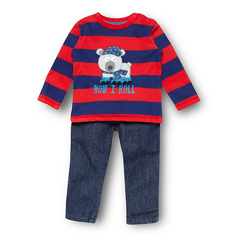 bluezoo - Babies navy bear printed top and jeans set