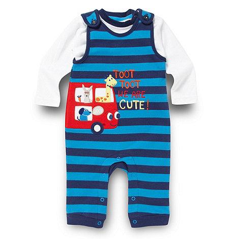 bluezoo - Babies blue bus dungarees set