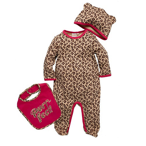 bluezoo - Babies multi coloured leopard printed baby grow set