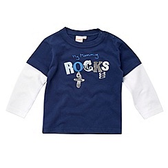 bluezoo - Babies navy 'My mummy rocks' top