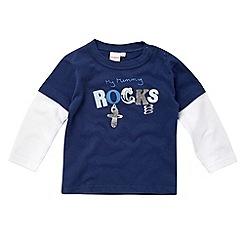 bluezoo - Babies navy 'My mummy rocks' top