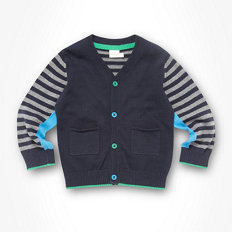bluezoo - Babies navy striped sleeve cardigan
