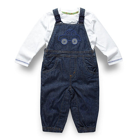 bluezoo - Babies blue woven dungarees and top set