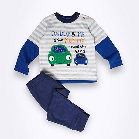 bluezoo - Babies blue car motif top and jogging bottoms