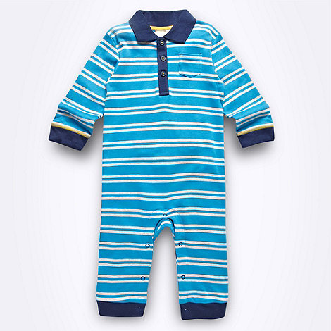 bluezoo - Babies turquoise striped polo romper suit
