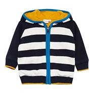 Babies navy striped sweat cardigan