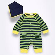 Babies green striped sleepsuit and bib set