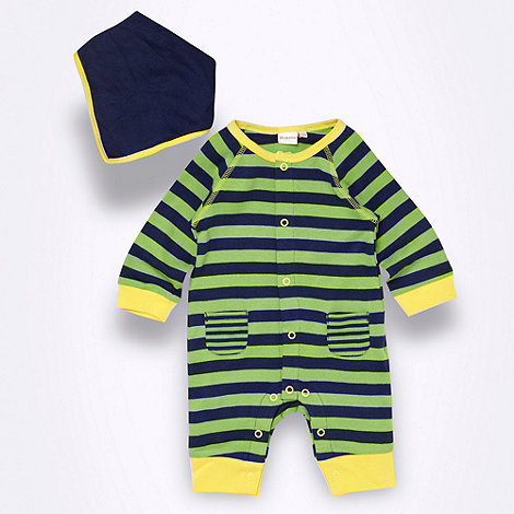 bluezoo - Babies green striped sleepsuit and bib set